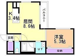 プレシェルト北栄 1階1LDKの間取り