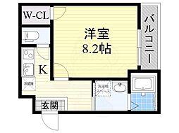 フジパレス堺東6番館 1階1Kの間取り