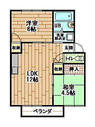 プレジール中西[2階]の間取り