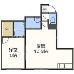 札幌市営南北線 北34条駅 徒歩8分の賃貸アパート 3階1LDKの間取り