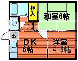 岡山県岡山市中区平井の賃貸アパートの間取り