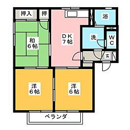 ラ・モンターニュ A棟[1階]の間取り