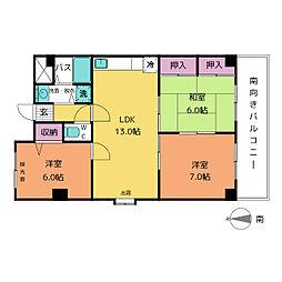 愛知県名古屋市昭和区御器所1丁目の賃貸マンションの間取り