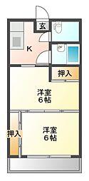 栃木県宇都宮市戸祭2丁目の賃貸アパートの間取り