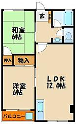 マンション若林[2階]の間取り
