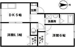 石川県白山市田中町の賃貸アパートの間取り