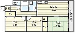 大阪府大阪市生野区巽中4丁目の賃貸マンションの間取り