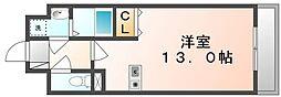 JR高徳線 高松駅 徒歩8分の賃貸マンション 2階ワンルームの間取り