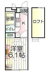 神奈川県横浜市神奈川区片倉1丁目の賃貸アパートの間取り