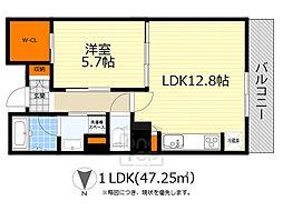 ザ千里タワー 8階1LDKの間取り