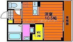 JR津山線 法界院駅 徒歩23分の賃貸マンション 1階ワンルームの間取り