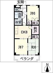 シェスタ・ヴィラ弐番館[3階]の間取り