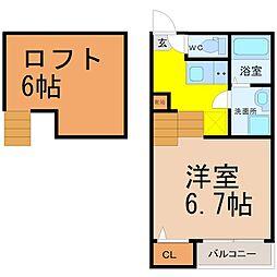愛知県名古屋市瑞穂区下坂町3丁目の賃貸アパートの間取り