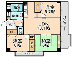 兵庫県伊丹市千僧3丁目の賃貸マンションの間取り