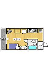簗瀬3丁目 1K マンション[2階]の間取り