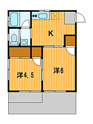 神奈川県横浜市神奈川区七島町の賃貸アパートの間取り