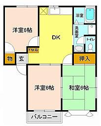 オリーブハウスA棟[2階]の間取り