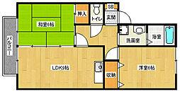 京都府京都市北区西賀茂井ノ口町の賃貸アパートの間取り