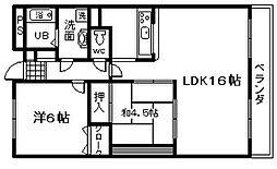 JR阪和線 熊取駅 徒歩1分の賃貸マンション 7階2LDKの間取り