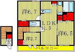 千葉県松戸市金ケ作の賃貸マンションの間取り