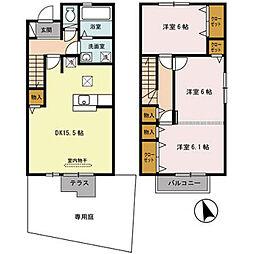 兵庫県三木市緑が丘町東の賃貸アパートの間取り