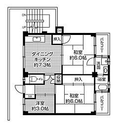 ビレッジハウス私部4号棟4階Fの間取り画像