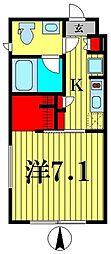 都営新宿線 菊川駅 徒歩5分の賃貸マンション 3階1Kの間取り
