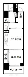 JR山陰本線 梅小路京都西駅 徒歩7分の賃貸マンション 6階1DKの間取り