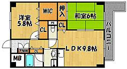 兵庫県明石市別所町の賃貸マンションの間取り