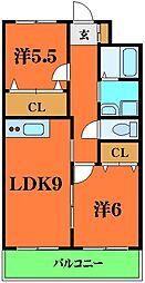 エヴァーグリーンマンション 2階2LDKの間取り