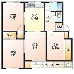 神陵台北住宅65号棟[3階]の間取り