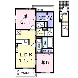 東京都八王子市大谷町の賃貸アパートの間取り