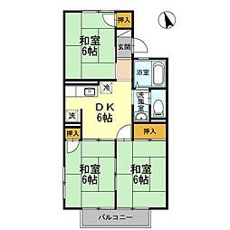 ハイツ桜橋A棟[2階]の間取り