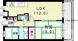 JR東海道・山陽本線 芦屋駅 徒歩7分の賃貸マンション 1階1LDKの間取り