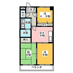 愛知県尾張旭市三郷町中井田の賃貸マンションの間取り