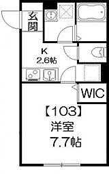 サンシャイン北松戸[103号室号室]の間取り