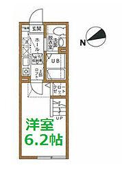 東急東横線 白楽駅 徒歩9分の賃貸アパート 1階1Kの間取り