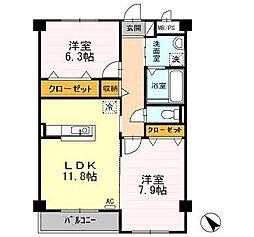 富山県富山市中川原の賃貸アパートの間取り