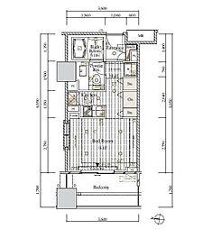 レグノ・セレーノ 5階ワンルームの間取り