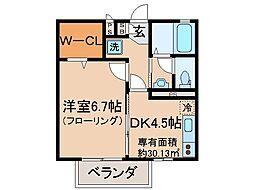 京都府京都市伏見区深草新門丈町の賃貸アパートの間取り