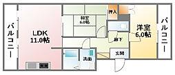 千葉県大網白里市駒込の賃貸マンションの間取り