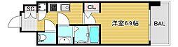 ファーストレジデンス大阪ベイサイド 3階1Kの間取り