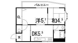 兵庫県神戸市東灘区深江本町3丁目の賃貸アパートの間取り