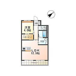つくば市流星台新築マンション(仮) 1階1LDKの間取り