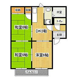 京都府京都市山科区大宅中小路町の賃貸アパートの間取り