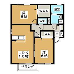宮城県仙台市若林区沖野7丁目の賃貸アパートの間取り