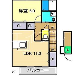 カイセイハイツC棟[2階]の間取り