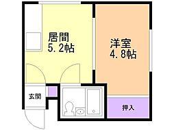 HKC3ビル 2階1DKの間取り