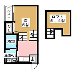VILLETTA栄 1階1Kの間取り