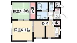 愛知県名古屋市天白区焼山2丁目の賃貸マンションの間取り